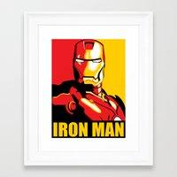 iron man Framed Art Prints featuring Iron Man by C.Rhodes Design