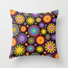 Bright And Colorful Flowers Throw Pillow