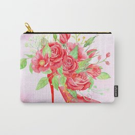 Watercolor Red Rose Shoe Carry-All Pouch