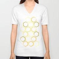 honeycomb V-neck T-shirts featuring Honeycomb by Thomas Knapp