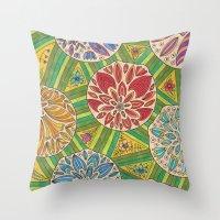 green pattern Throw Pillows featuring Green pattern by Lisidza's art