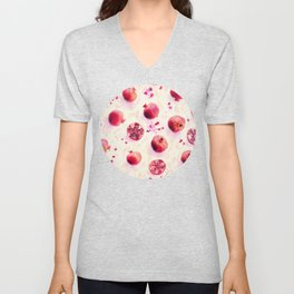 Painted Pomegranates with Gold Leaf Pattern Unisex V-Neck