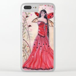 Lady Love bug fairy Clear iPhone Case