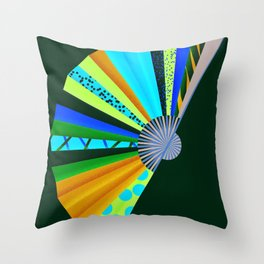 Beautiful Abstract chinese Fan Throw Pillow