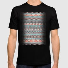 Tribal #4 (Coral/Aqua) Black Mens Fitted Tee X-LARGE