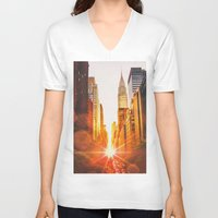 skyline V-neck T-shirts featuring NYC Skyline Sunset by Vivienne Gucwa