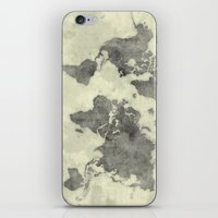vintage map iPhone & iPod Skins featuring World Map Black Vintage by City Art Posters