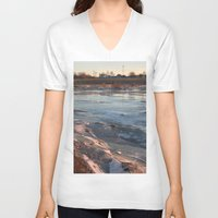 cracked V-neck T-shirts featuring Cracked ice. by Mikhail Zhirnov