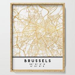 BRUSSELS BELGIUM CITY STREET MAP ART Serving Tray