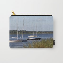 Sailboats moored in front of a natural beach.  Carry-All Pouch