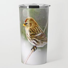 Redpoll on Clothesline Travel Mug