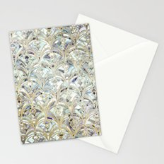 Pale Bright Mint and Sage Art Deco Marbling Stationery Cards