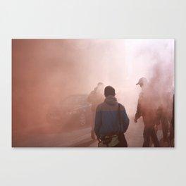 Red Smoke Streets Canvas Print