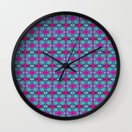 Colorful Pink Turquoise Swirl Pattern Wall Clock