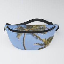 Palm trees and Bench by the sea, Oahu Hawaii Plants Nature Landscape Travel Photography Wall Art Decor Fanny Pack