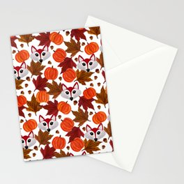 Cute Fall Fox Pumpkin Acorn Maple Leaf Watercolor Stationery Cards
