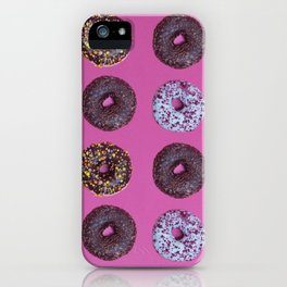 Top view to the donuts over pink background iPhone Case