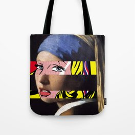 Vermeer's Girl with a Pearl Earring & Lichtenstein's Girl with a Hair Ribbon Tote Bag