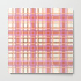 Peach Plaid with Pink and Yellow Metal Print