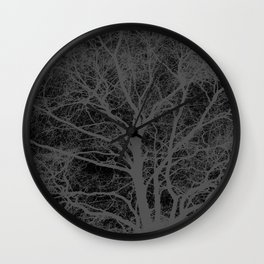 Black and white tree silhouette Wall Clock
