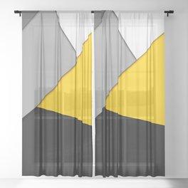 Simple Modern Gray Yellow and Black Geometric Sheer Curtain