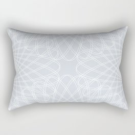 spirograph inspired pattern in white and a pale icy gray Rectangular Pillow