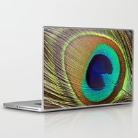 peacock feather Laptop & iPad Skins featuring Peacock Feather by Kim Bajorek