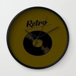 Retro record music logo Wall Clock