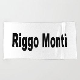 Riggo Monti Design #5 - Riggo Monti (Simple Text) Beach Towel