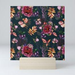 Autumn dark roses and florals Mini Art Print