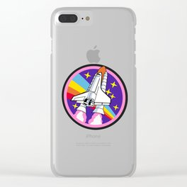 Pink Rainbow Rocket Clear iPhone Case