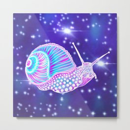 Psychedelic Galaxy Snail Metal Print
