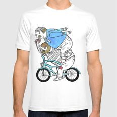 On how bicycle riders utilize team work in certain situations. White Mens Fitted Tee MEDIUM