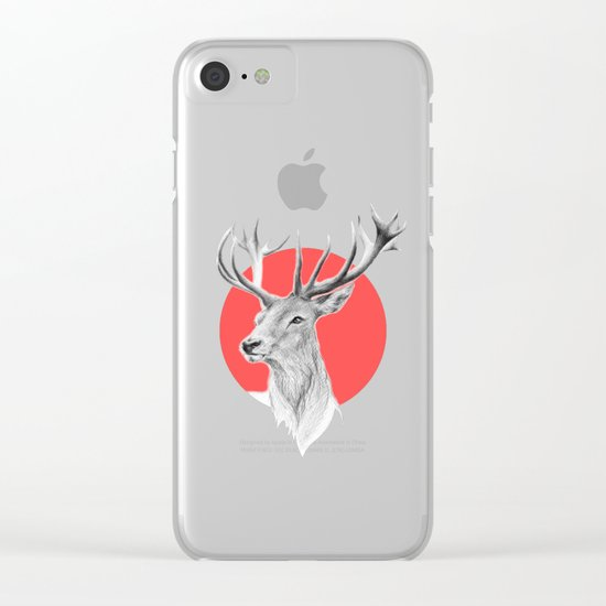 Deer | red Clear iPhone Case