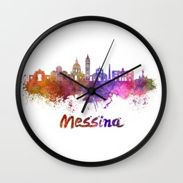 Messina skyline in watercolor Wall Clock