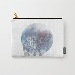Geometric Elephant In Thin Stipes On Circle Background Carry-All Pouch