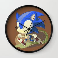 sonic Wall Clocks featuring Sonic by Rod Perich