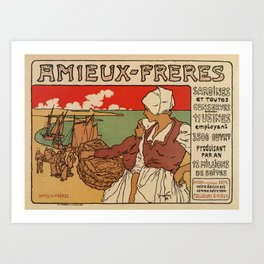 Vintage French sea fish advertising Art Print