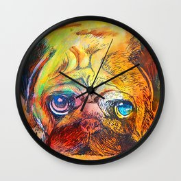 Pop Art Pug Wall Clock