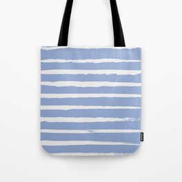 Irregular Hand Painted Stripes Light Blue Tote Bag