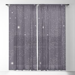 Universe with planets and stars seamless pattern, cosmos starry night sky 005 Sheer Curtain