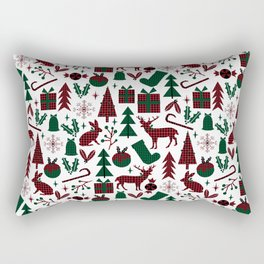 Plaid antler deer stocking christmas pudding christmas trees candy canes Rectangular Pillow