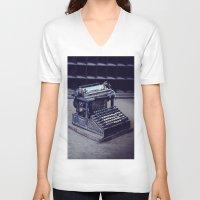 typewriter V-neck T-shirts featuring Typewriter by Kerri Ann Crau