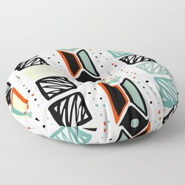 Abstract geometrical black orange ivory green squares polka dots Floor Pillow
