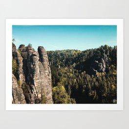 Bastei Sandstone Mountains Art Print