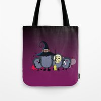 animal crew Tote Bags featuring Halloween party crew by mangulica illustrations