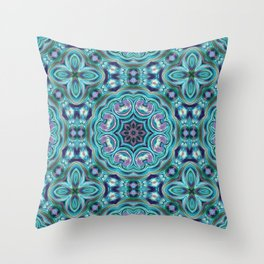 Blue ornament. Kaleidoscope. Throw Pillow
