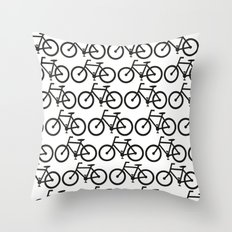 Bicycle Stamp Pattern - Black and White - Fixie Fixed Gear Bike Throw Pillow