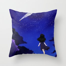 Behold the Galaxy - Anime Girl looking at the Stars Throw Pillow