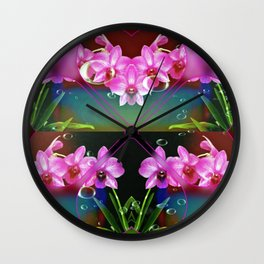 Charming Orchids Wall Clock